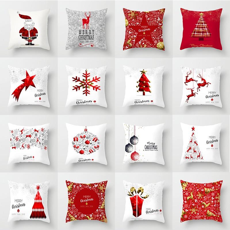 Pillow Case 45*45 Christmas Snowflake Elk Printed Polyester Pillowcase Square Decorative Christmas Pillowcase