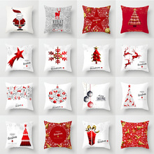 Pillow case 45*45 Christmas Snowflake Elk Printed Polyester Pillowcase Square Decorative Christmas Pillowcase plus size christmas elk snowflake jacquard leggings