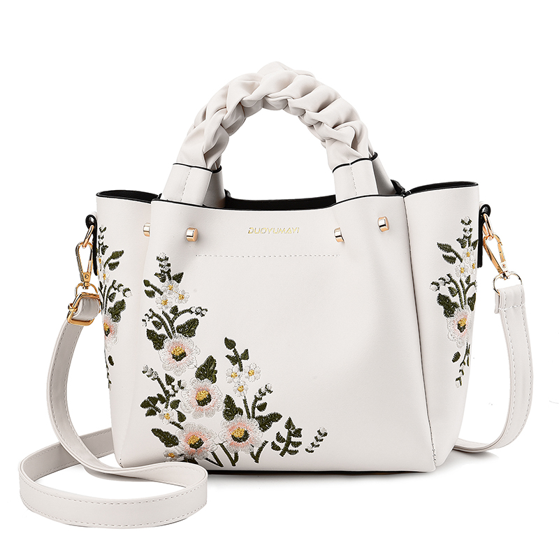 Weave Handle Women Floral Pu Leather Small Hand Bags Casual Brand Fashion Designer Ladies Bag Shoulder White Female Handbags Pipi Luxury Lastest Fashion And Style