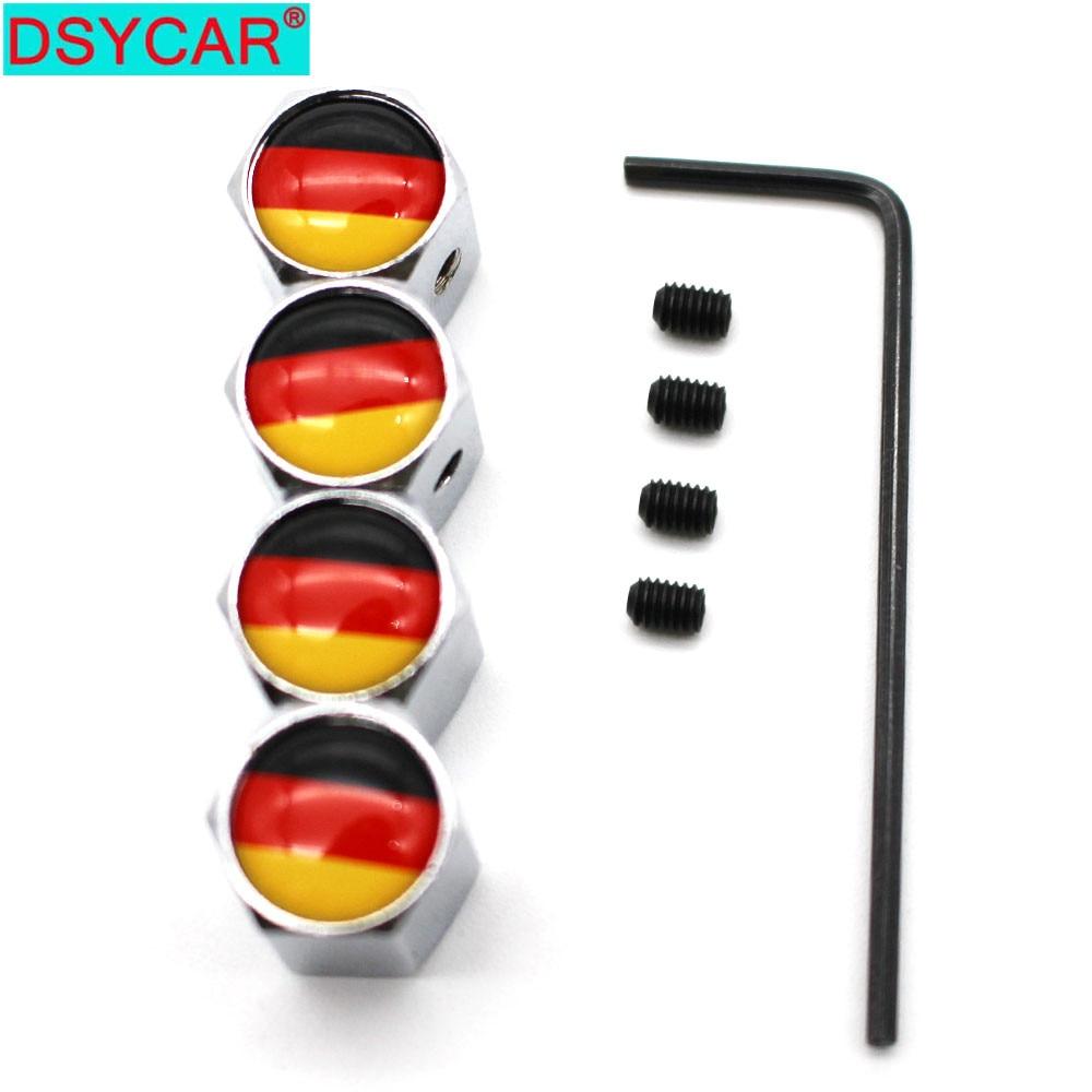 DSYCAR 5 Pcs/Set Car Styling Zinc Alloy Anti-theft Germany Flag Car Tire Valve Caps Wheel Tires Tire Stem Air Cap Airtight Cover