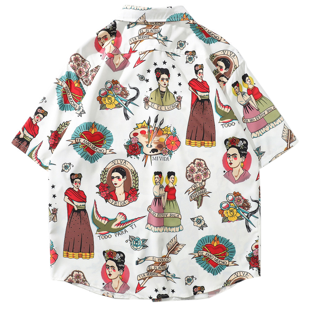 2019 חדש החוף הוואי חולצות קיץ Mens חולצה קצר שרוול דפוס הדפסת אי Loose חופשה תחתונית
