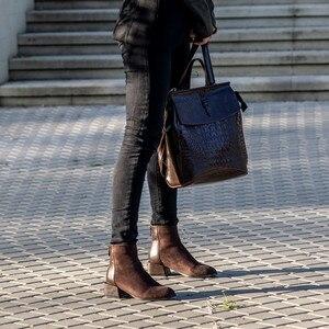 Image 2 - רוני Bouker פו זמש קרסול מגפי נשים עקבים עבה קטיפה נעל אישה שיק נעלי גברת חום שוקולד אתחול ботинки женские