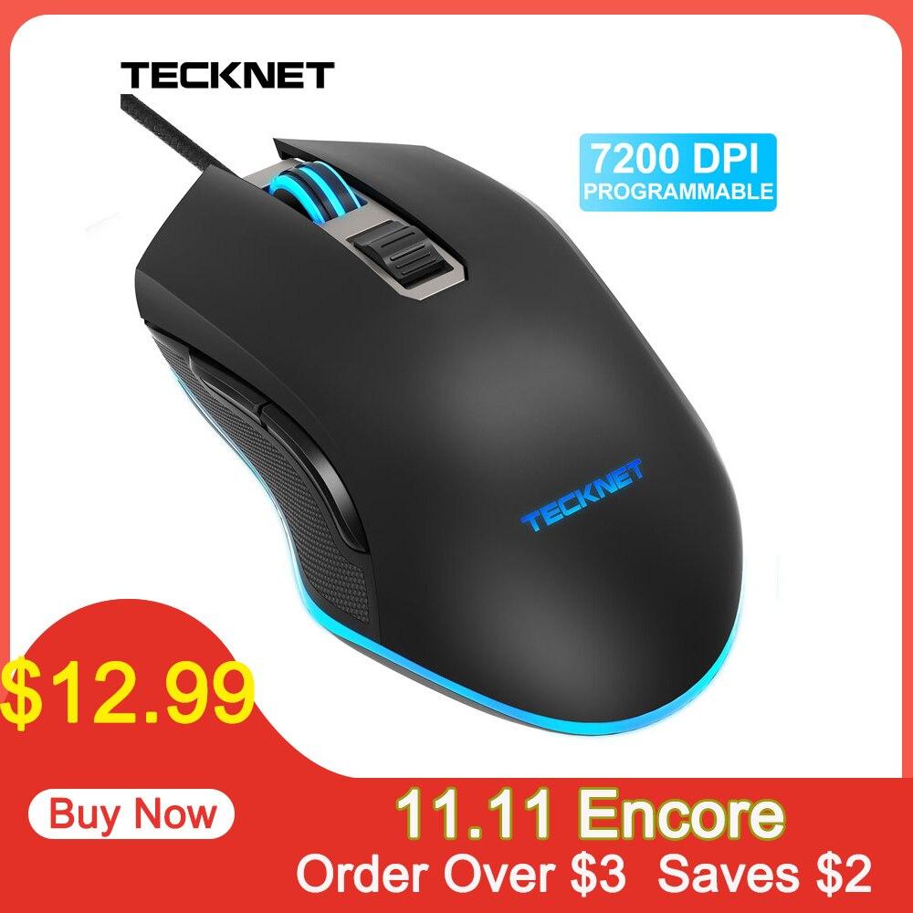 TeckNet 7200DPI Mouse Programável RGB DIODO EMISSOR de Luz Com Fio Mouses Gamer para PC Laptop 6 Botões Optical Gaming Mouse para Computador