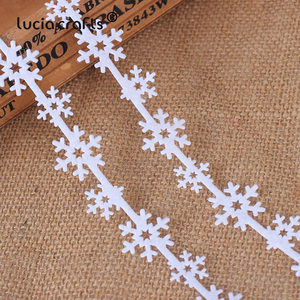 Image 3 - 5yards 25/35mm Non woven Ribbons Fabric Star Snowflake Trim Lace DIY Crafts Hanging New Year Christmas Tree Decoration B1209