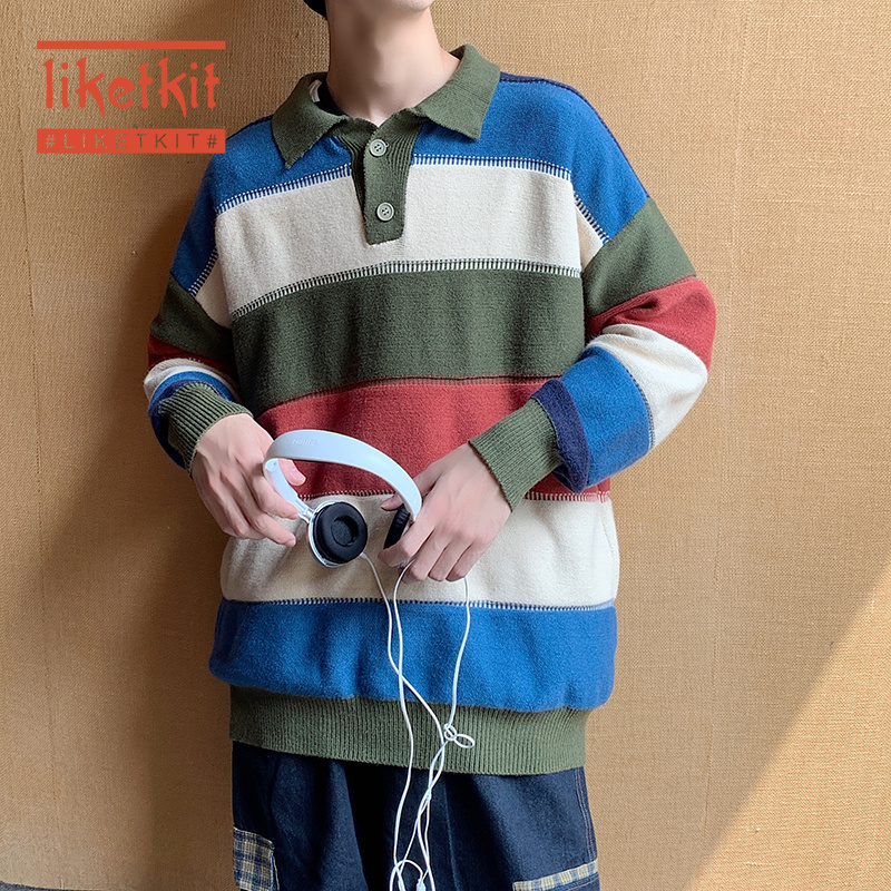 Liketkit Men Vintage Stipred Sweater For 2020 Spring Colorful Sweater Korean Couples Fashion Pullover Women Harajuku Clothes INS