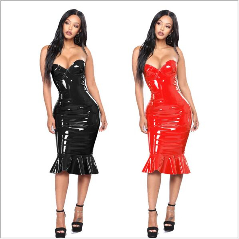 Sexy PVC Wet Look Leather Dresses Women Red Black Zipper Black Club Wear Bandage Plus Size Tube Dress Mermaid 5XL 6XL image