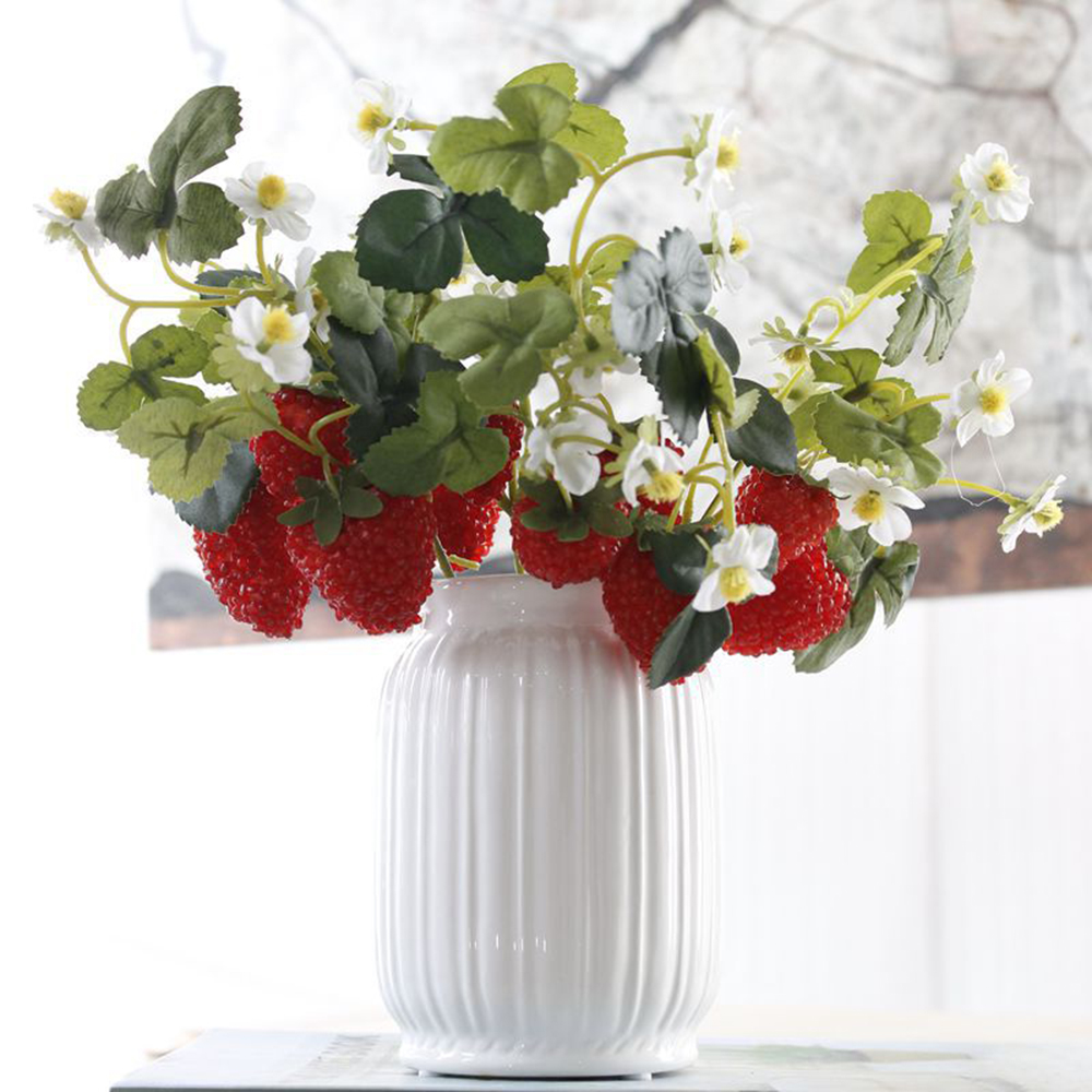 New French Frambuesa Artificial Fake Strawberry Fruit Plant Flower Branch Bouquet Wedding Home Decor