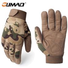 Multicam rękawice terenowe taktyczne armia wojskowy rower Airsoft piesze wycieczki wspinaczka strzelanie Paintball Camo sportowa rękawica ze wszystkimi palcami tanie tanio GUMAO Microfiber Unisex Novelty Wrist Solid