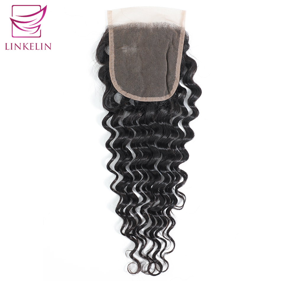 LINKELIN Peruvian Deep Wave Lace Closure 4*4 Free/Middle/Three Part Human Hair Closure 130% Destiny Lace Remy Hair Closure