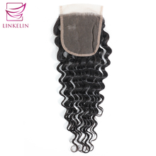 цены LINKELIN Peruvian Deep Wave Lace Closure 4*4 Free/Middle/Three Part Human Hair Closure 130% Destiny Lace Remy Hair Closure