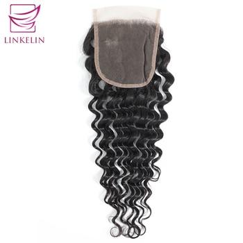 цена на LINKELIN Peruvian Deep Wave Lace Closure 4*4 Free/Middle/Three Part Human Hair Closure 130% Destiny Lace Remy Hair Closure