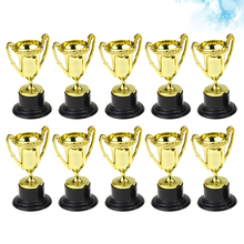 10PCS Plastic Trophy Awards Sport Competition Craft Souvenirs Gift Mini Gold Cups Trophies for Children Early Learning Prizes