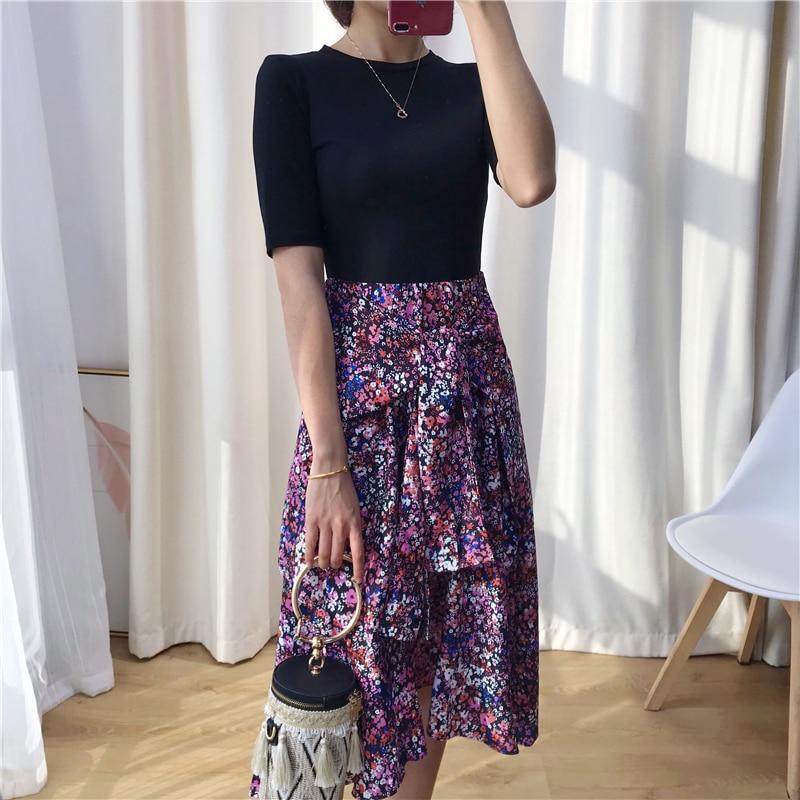 Women Irregular False Two Pieces Patchwork  Dress Floral Print Sweet Lady Casual Short Sleeve Dress