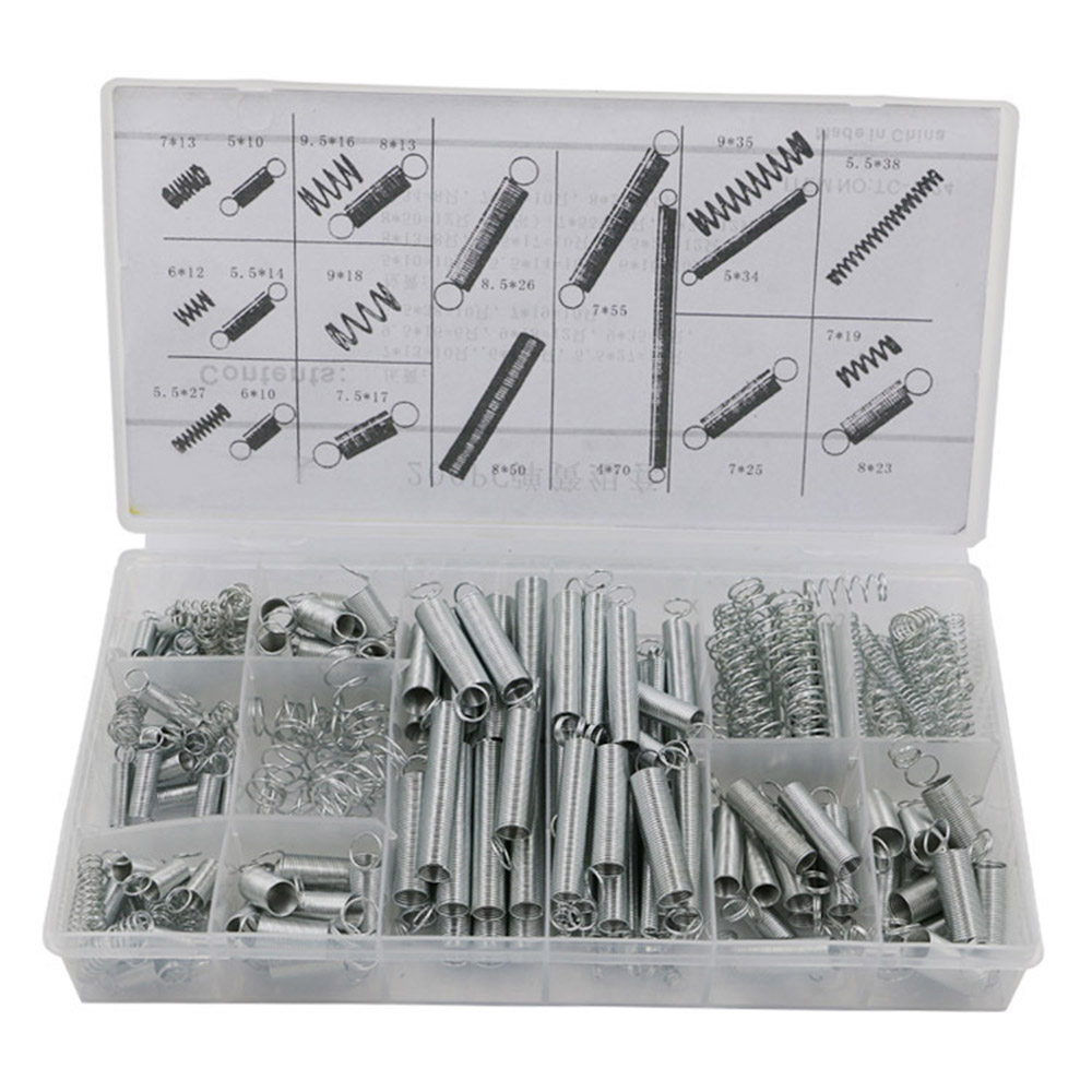 200pcs Extension Spring Tension Pressure Compression Springs Assortment Set With Plastic Box Hardware Tools Kits