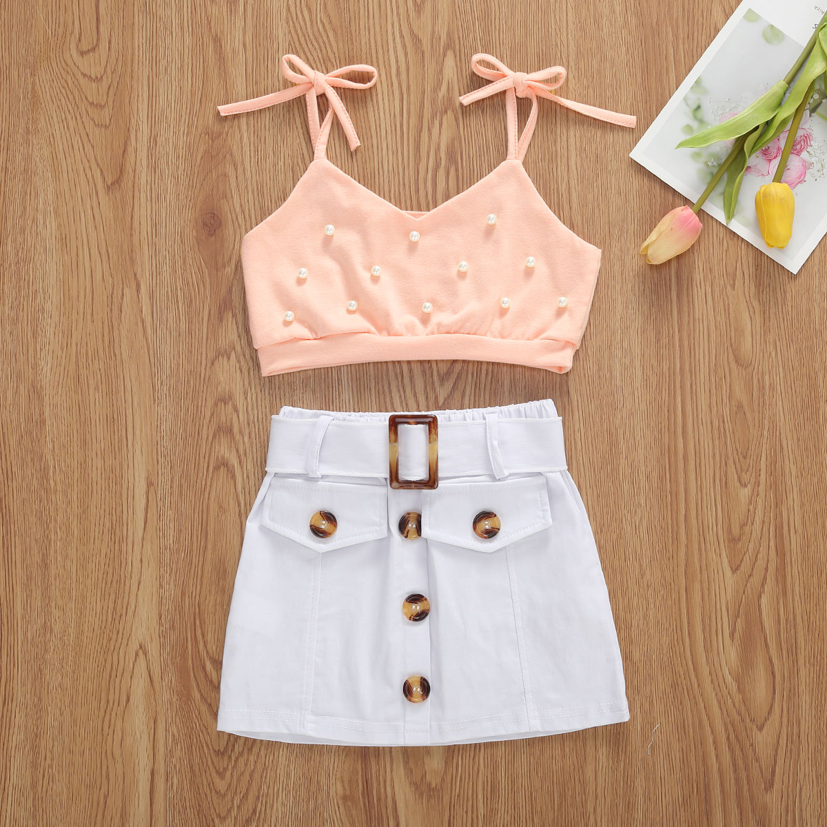 Baby Cute Girl Denim Outfit Buttons Ruffle Crop Top+Ruched Shorts 2Pcs Clothes Set