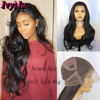 IvyNa Body Wave Synthetic Full Lace Wigs for Black Women Glueless Full Hand Tied Natural Color Futura Heat Resistant Hair Wigs