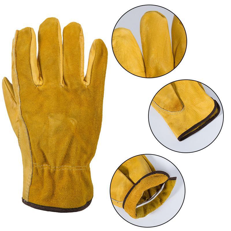 MeterMall Genuine Leather Work Gloves Anti-slip Driver Garden Gloves For Mechanical Repair Vehicle