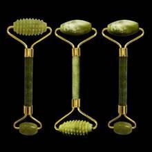 Новый натуральный нефритовый роликовый массажер для лица с двойной головкой, массажер для лица с натуральным камнем, v образный роликовый ролик для формирования лица, зеленый нефритовый ролик с шипами