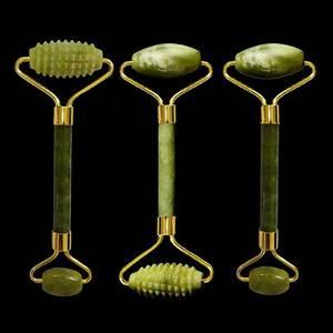 Image 1 - Новый натуральный нефритовый роликовый массажер для лица с двойной головкой, массажер для лица с натуральным камнем, v образный роликовый ролик для формирования лица, зеленый нефритовый ролик с шипами