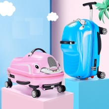 Children Rolling Luggage Spinner 3D Scooter Suitcase For Kids Cabin Trolley Student Travel Bag Cute Baby Carry On Trunk