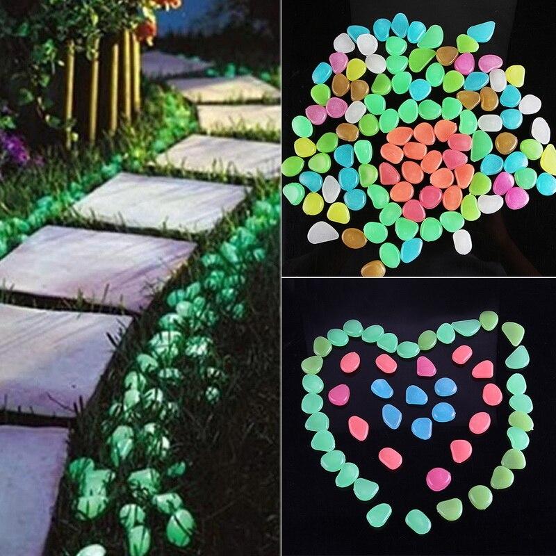 50шт светится в темном гальке светится камни камни светится галька для на открытом воздухе декор сад лужайка двор аквариум дорожка рыба бак