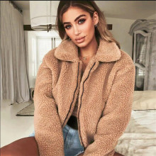 все цены на Goocheer Faux Fur Coat Women 2019 Autumn Winter Thick Warm Soft Fleece Jacket Pocket Zipper Outerwear Overcoat Bear Teddy coat онлайн