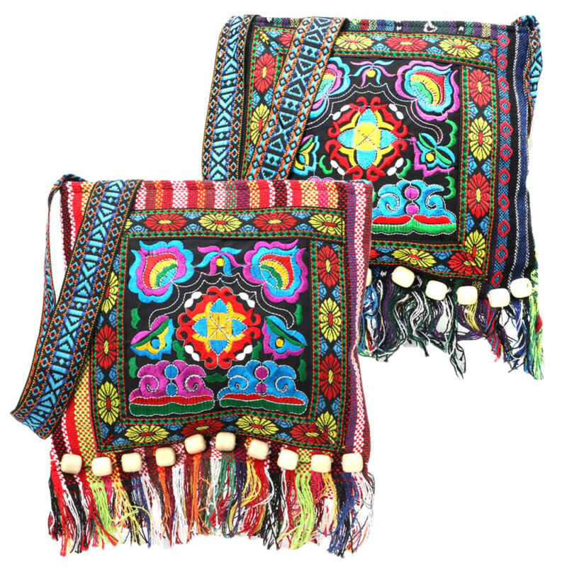 Retro Vintage Embroidery Boho Tote Messenger National Style Ethnic Shoulder Bag Tassel Tote Messenger Bag Hippie Crossbody
