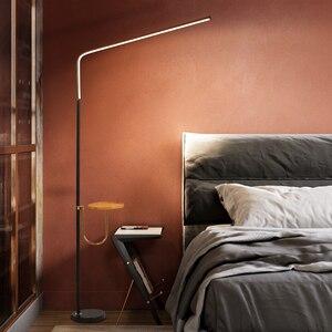 Image 2 - Postmodern minimalismo chão LEVOU lâmpada para quarto Preto/Branco Ferro candeeiro de pé AC110 220v 24W Salas de estudo de Iluminação de Escritórios