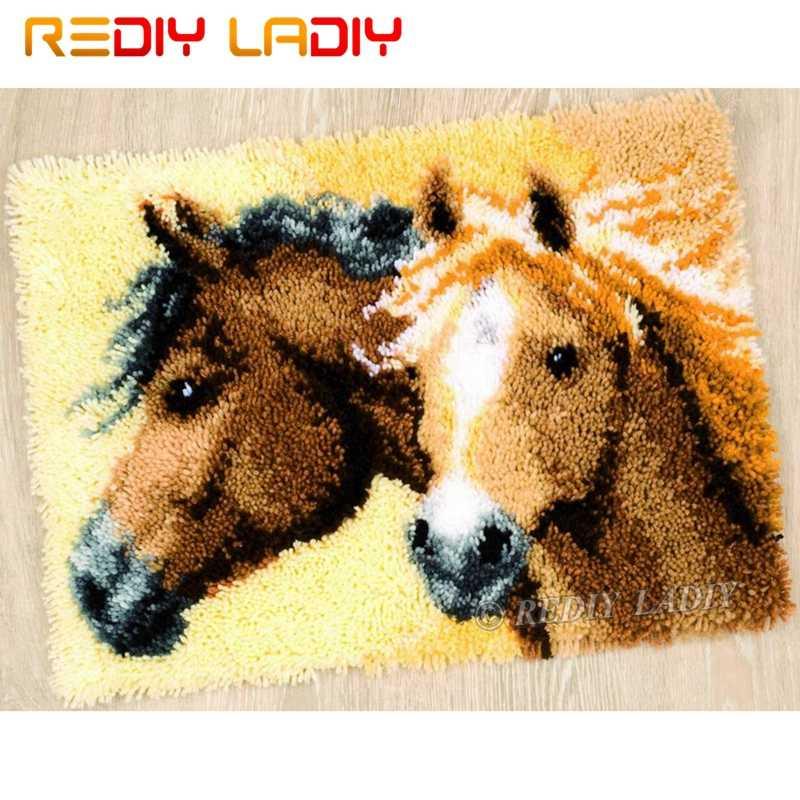Latch Hook Kit Membuat Anda Sendiri Karpet Dua Kuda Permadani Crochet Cushion Mat DIY Karpet Rug Set Digunakan Dicetak kanvas Hobi dan Kerajinan