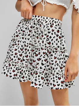 2020 Summer Floral Skirts Womens Lace-up Bow Folds Ruffle Skirt Print Beach Casual Short A-Line Skirt High Waist Skirt New ruffle trim asymmetric floral skirt