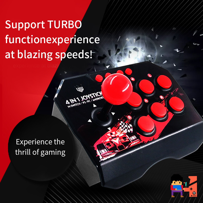 4 In 1 USB Rocker Game Controller For NS Nintendo Switch Joystick Gamepad Handheld Fighting Stick Video Gamepads For PC/Android