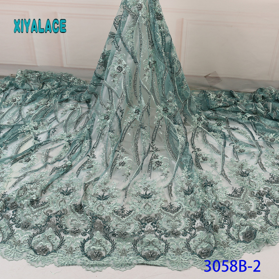 Handmade Lace Fabric 2019 High Quality Beaded Nigerian Lace Fabric Embroidery French Tulle Lace With Beads For Bridal YA3058B-2