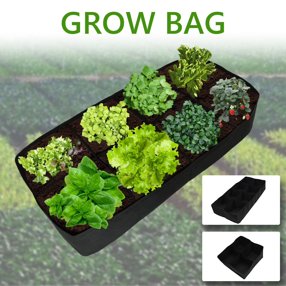 Grow Bag Fabric Garden Plant Bed  Vegetable Plante Seedling Gallon Tree Handle 4/8-Hole Rectangular Container Planting Bag