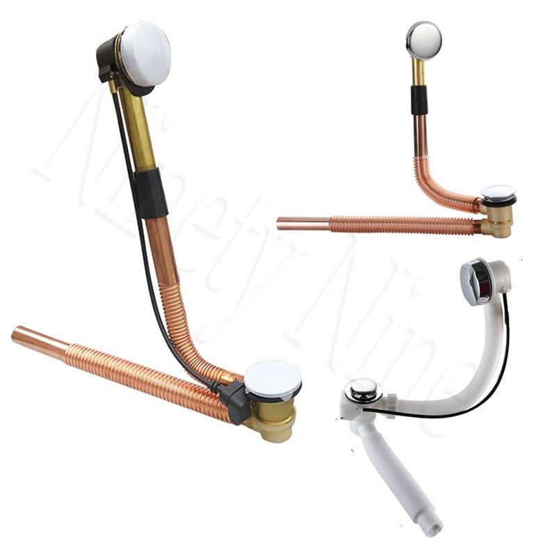 Copper Bellows Bath Tub Bathtub Drain Kit Cable Driven Stopper Pup-up Overflow