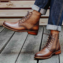Genuine Leather Men Boots Casual Fashion Lace Up Brogue Ankle Boots High Quality Vintage Mens Lace Up Martins Boots zip high heel vintage platform women casual footwear martins boots metal decoration ankle microfiber genuine leather fashion