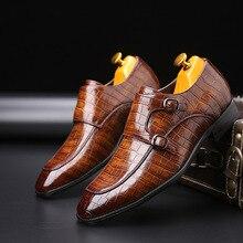 2020 קלאסי תנין עסקי דפוס שטוח נעלי גברים מעצב פורמליות שמלת עור נעלי גברים מסיבת חג המולד