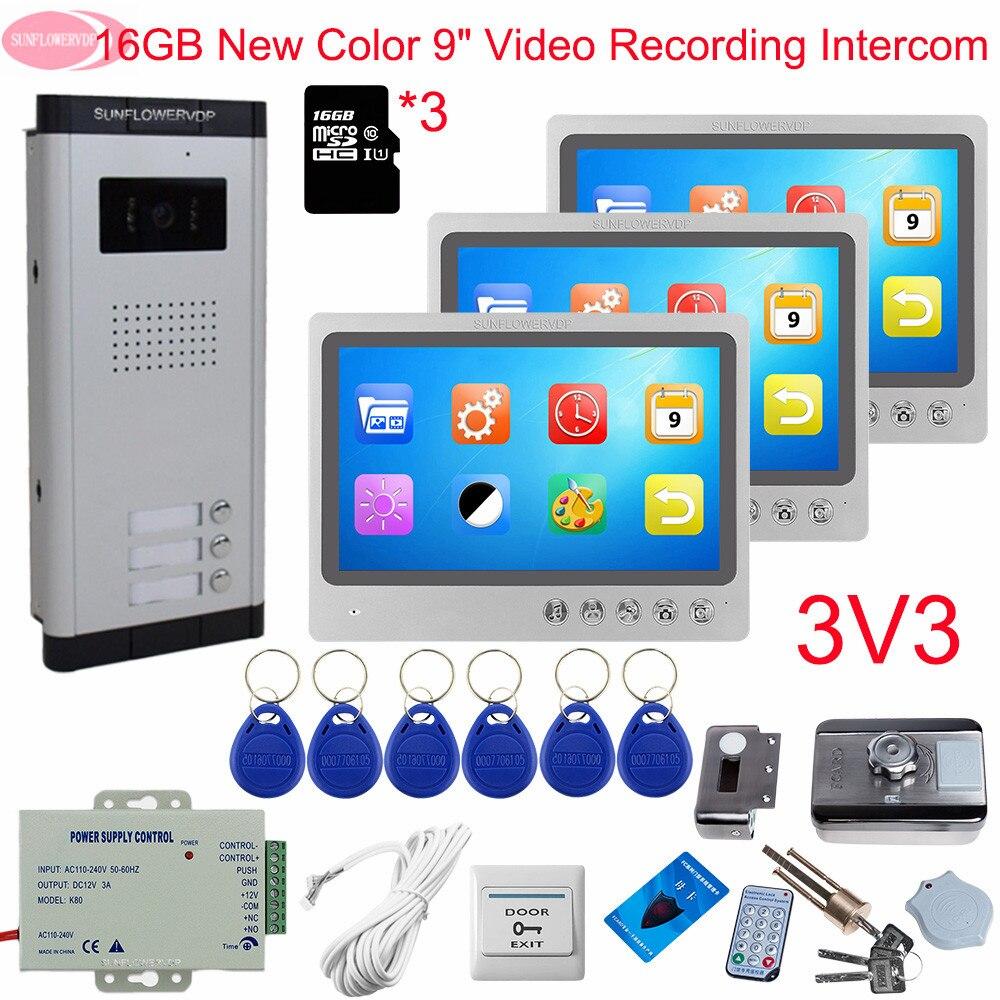 Домофон видеодомофон с записью + 16 ГБ TF Карта 9 дюймов дверной звонок с камерой и экраном видеодомофон для 3 квартиры