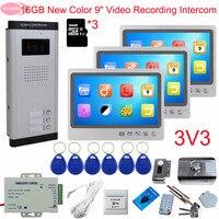 Door Intercom Video Intercom With Recording+16GB TF Card 9inch Doorbell With Camera And Screen Video Intercom for 3 Apartments