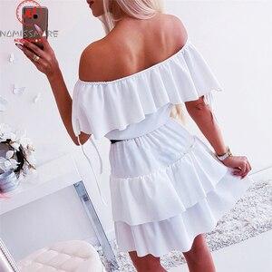 Image 4 - Vestido sexy manga curta feminino, corte em linha a design de retalhos plissados ombro fora justo liso para moças verão