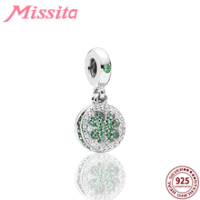 MISSITA 925 Sterling Silver Green Crystal Lucky Clover Charms fit Brand Women Bracelets Necklace for Jewelry Accessories Gift серьги other lucky brand stamp 10