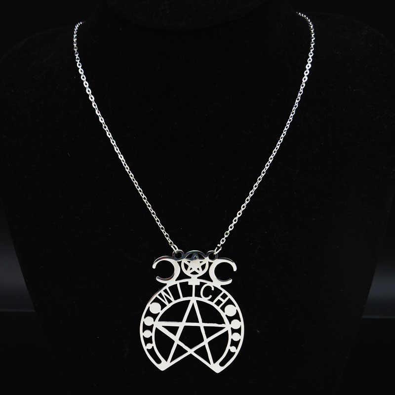 Fashion Sihir Pentagram Stainless Steel Kalung Wanita Warna Perak Kalung Perhiasan Cadenas Mujer N426S02