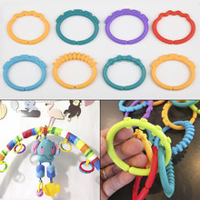 12Pcs/set Plastic Grip Baby Teether Rattles Rubber Rainbow Ring Molars Rattle Safety Toys for Children Crib Bed Stroller Hanging(China)