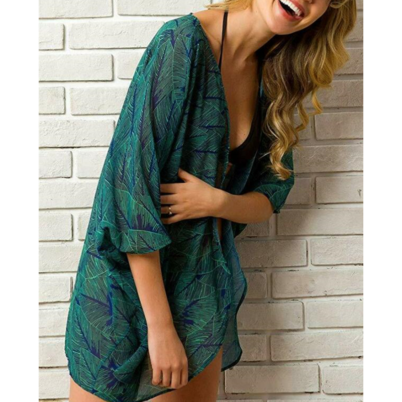 2020 Women's Print Dresses Sexy Chiffon Loose Shawl Kimono Cardigan Top Cover Up Blouse Beachwear Beach Cover Up Bikini Dresses