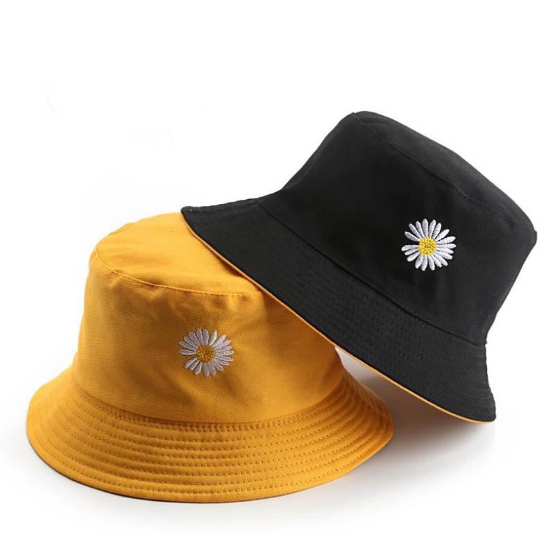 Doitbest 2020 Spring Women Bucket Fishing Hats Sunscreen Sun Cap Little Daisies Double-sided Wear Spring Lady Fisherman Hat