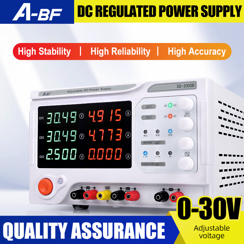 A-BF Laboratory <font><b>Power</b></font> <font><b>Supply</b></font> <font><b>DC</b></font> Stabilized Voltage Regulator Four Digit Display <font><b>30V</b></font> / 3A <font><b>5A</b></font> Multi-channel Three-way <font><b>Power</b></font> <font><b>Supply</b></font> image