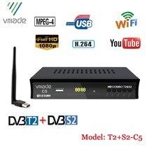 Europe russie Full HD numérique DVB T2 S2 Combo récepteur de télévision par Satellite soutien YouTube M3U IKS BISS TV Tuner décodeur avec WIF