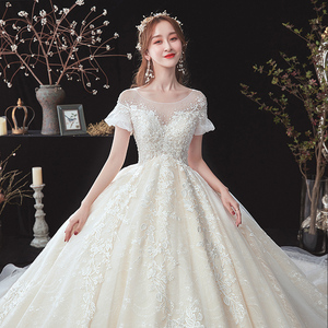 Image 4 - 구슬 장식 아플리케 레이스 짧은 소매 높은 허리 공주 공 가운 웨딩 드레스 임신 신부 플러스 크기 Aliexpress 로그인