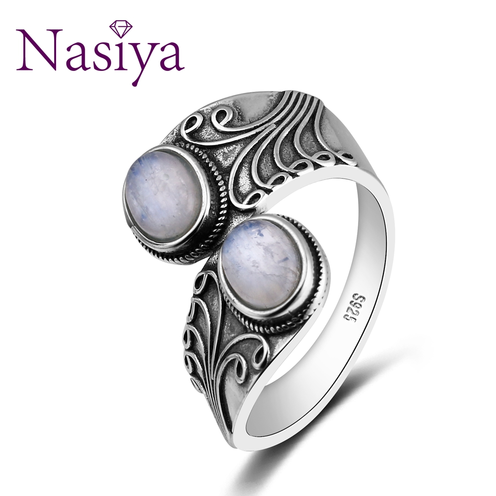 Nasiya New Design Punk Hiphop Ring With Two Moonstone For Men and Women 925 Sterling Silver Jewelry Party Birthday Gift