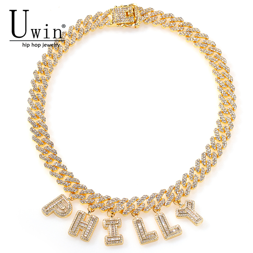Uwin Custom Name S-Link Miami Cuban Link 12mm Letter Necklace Chain Full Bling Punk Collar Bling Bling Glamour Hiphop Jewelry