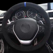Housse de volant de voiture en daim noir, pour BMW F20 2012 2018 F45 2014 2018 F30 F31 F34 2013 2017 F32 F33 F36